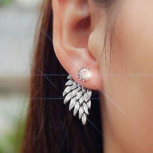 Silver Tone Angelic Double-Sided Earrings NEW